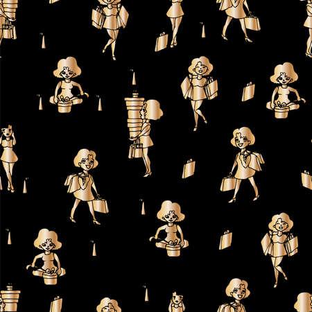 Girl shopping gold on a black background Illusztráció