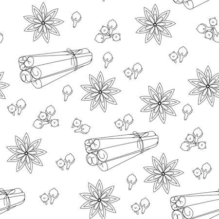 seamless pattern of cinnamon pods, cinnamon grains, in a linear style of cheno white isolate.