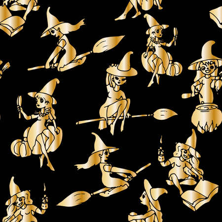 witch in anticipation of Halloween gold on black. Seamless background for packaging, wallpaper, fabric. Illusztráció