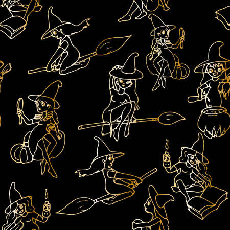vector seamless pattern. Black witch on a broomstick on a white background for your design Illusztráció