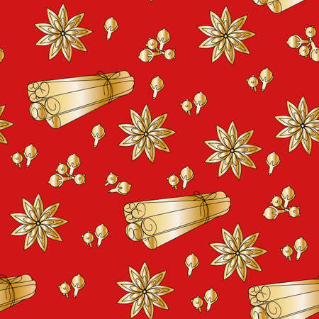 cinnamon golden on a red background. Vector seamless background