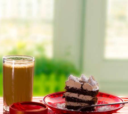 Three Layers Chocolate Cake with espresso Coffee Stock fotó
