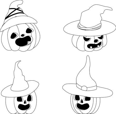 set of Halloween pumpkins in pointed hats. Black-and-white linear pattern