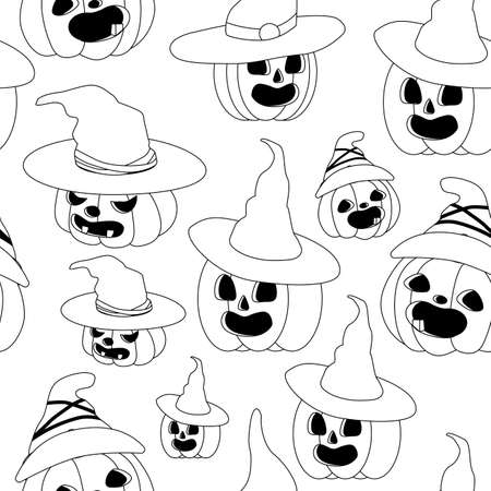 Halloween blue festive seamless pattern. Endless background balloons with scary face, bats, ghosts. Seamless pattern with orange and black halloween balloons. Halloween decorations concept pattern
