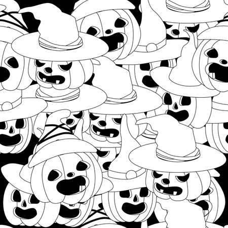 seamless pattern with pumpkins in black and white Illusztráció