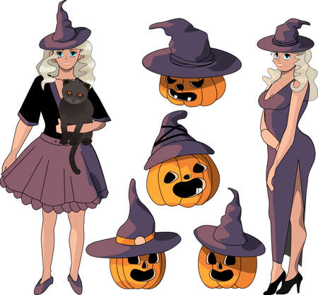two witches, a black cat and a set of pumpkins isolated on a white background