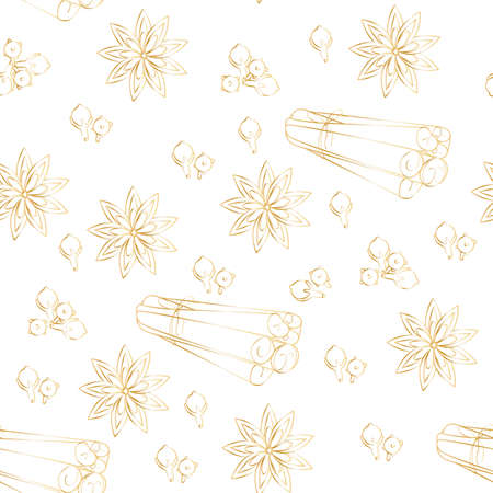 seamless pattern of cinnamon specials, cloves in gold color on a white background. Suitable for wallpaper, fabric. Illusztráció
