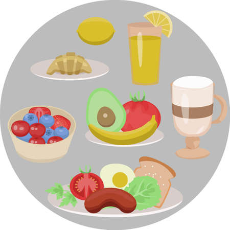 healthy breakfast of several dishes isolated on a gray background