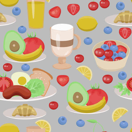 seamless pattern with dishes for breakfast. Bright fusor for wallpaper, menu, fabrics. concept of a healthy breakfast