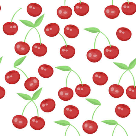 seamless pattern with cherry on a white background
