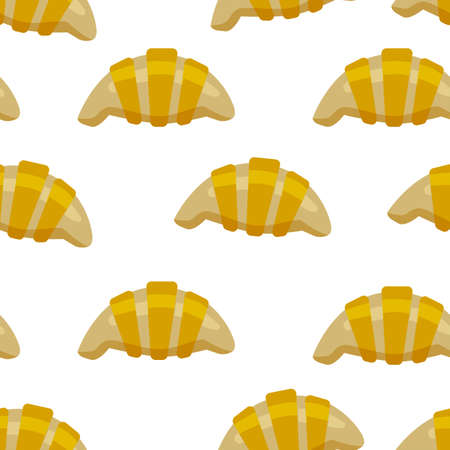 Croissant and sweet buns pattern. Seamless background with a french croissant.