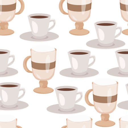 Seamless pattern with hand drawn sketchy tea and coffee cups.