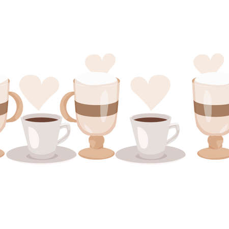 Seamless Horizontal Pattern. Background with Cups, Kettle and bakery produkts. Continuous drawing style. Vector illustration. Illusztráció