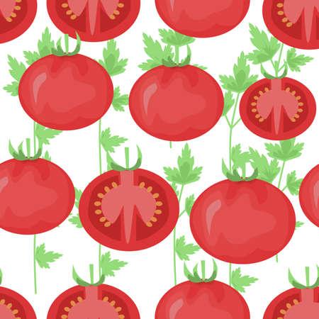 Vegetable organic food ripe sliced tomato seamless pattern vector illustration. seamless pattern with tomato Illusztráció