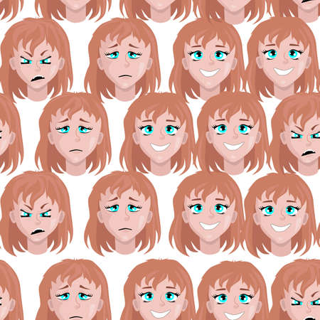 seamless pattern with a woman s face with different emotions on a white background