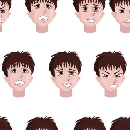 seamless background of stickers man s face with different emotions