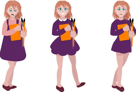 Illustration of the different moods of a young girl on a white background. Set girl with different emotions Illusztráció
