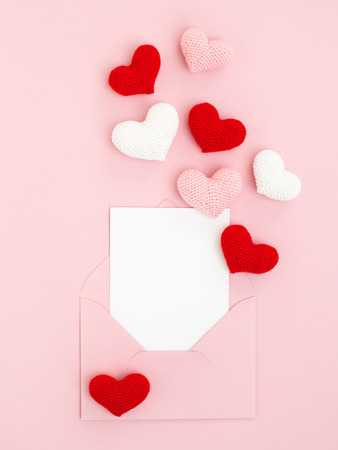 Pink Red And White Spreading Hearts With Valentine Greeting Stock