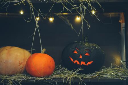 Master class Halloween decorative pumpkins made by hands