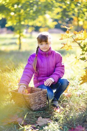 little girl in the garden with a basket of apples and jam