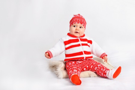 little girl in christmas costume. new year Stock Photo