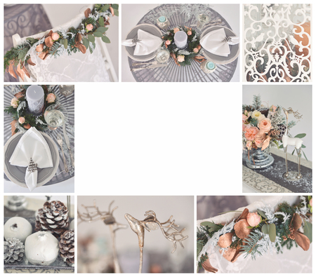 wedding collage in the form of a frame of photos of wedding decor, floristic compositions, winter and autumn themes