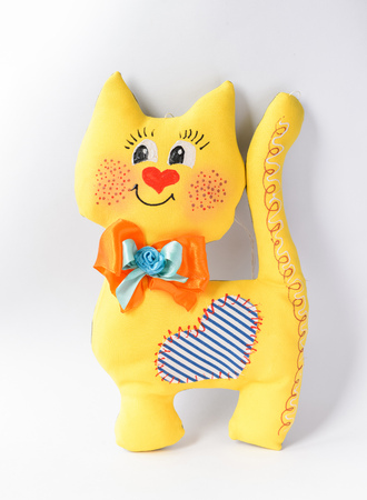 Handmade toys made of fabric for children or as a gift. cat Stock fotó