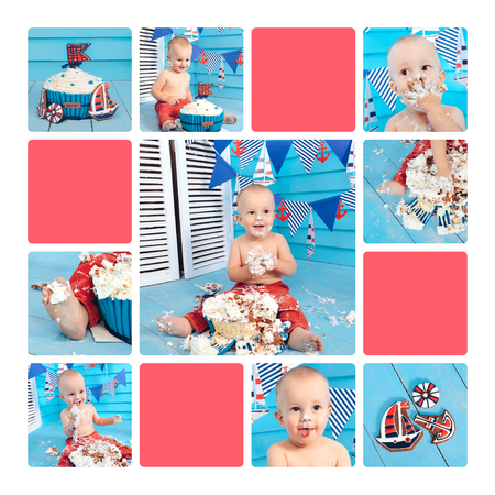 collage decoration for the boys birthday, smash the cake in a nautical marine style. stylized birthday ship photo shoot. Cheerful boy eats and break a cake with his hands on the first holiday