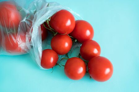 branch of ripe cherry tomatoes lies in a plastic bag on a blue contrasting background Stock Photo
