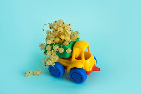 white currant natural vitamins are in the back of truck in a childrens toy car food delivery truck logistics Stock Photo