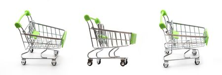 three shopping cart, Supermarket Trolley isolated on white background Standard-Bild - 129169316