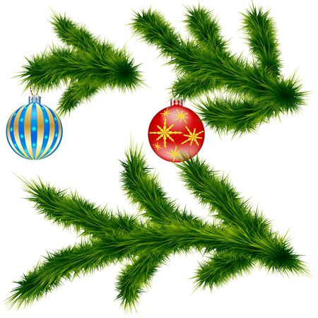 gratulation: Pine branches with Christmas balls Illustration