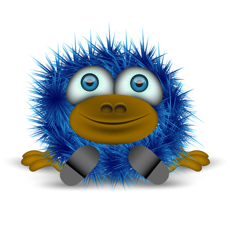 cheerful blue monster sitting on the floor