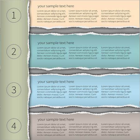 teared: Modern infographics template torn paper style