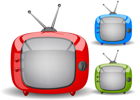 red, green and blue cute TV on a white background