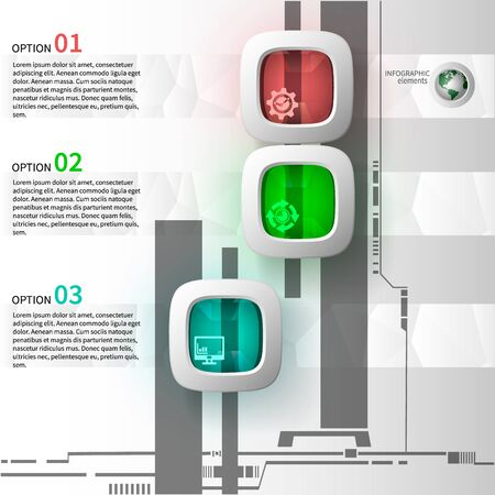 charts and graphs: Infographics of 3 steps with glass elements