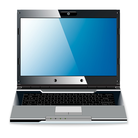 laptop screen: Blue-black laptop with blue screen on a white background Illustration