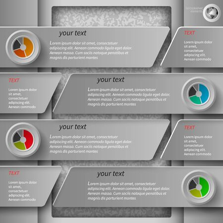 with sets of elements: gray infographics in 4 steps Illustration