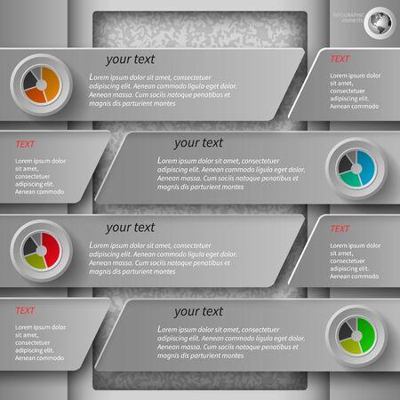 elemento: Infografici grigi in 4 passaggi