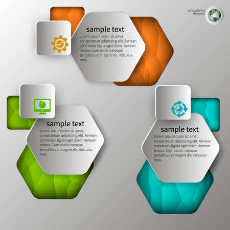 embossed: embossed infographics in step 3 color