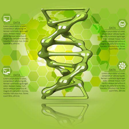 dna graph: Scientific green  infographics DNA molecule