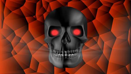 eye sockets: black human skull with red glowing eye sockets