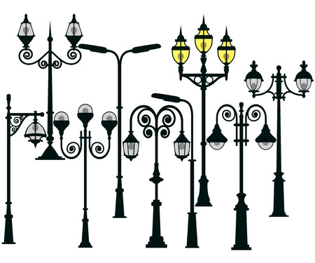 urban street: Street lights and lamps set Illustration