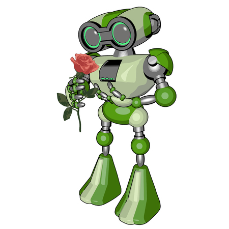 technology symbols metaphors: Green Robot with a flower