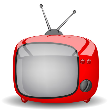 Toy red television on a white background
