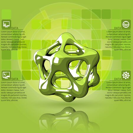 cel: Scientific green infographics with the crystal lattice
