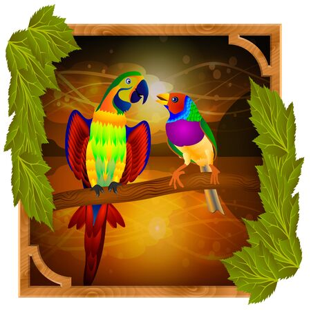 finch: parrot and finch sitting on a branch at sunset Illustration