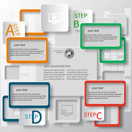 text frame: vector abstract 3d paper infographic elements