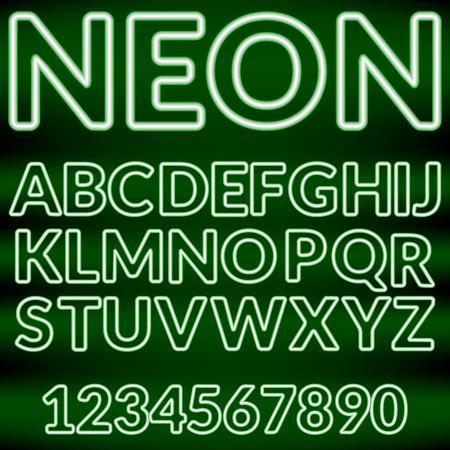 fluorescent tubes: Green neon light alphabet on a black background.Vector