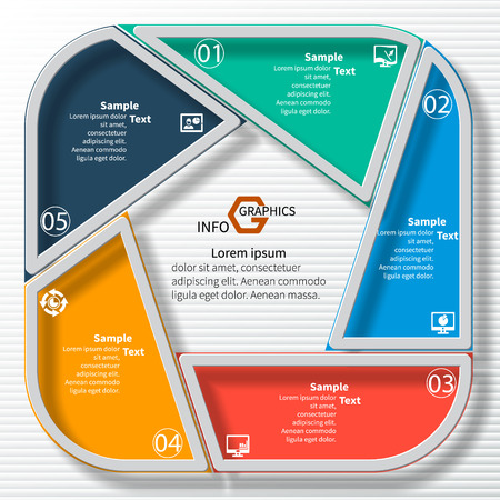 business card design: vector abstract 3d paper infographic elements.Circular infographics
